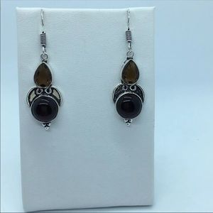 Brown Quartz Silver Hook Earrings